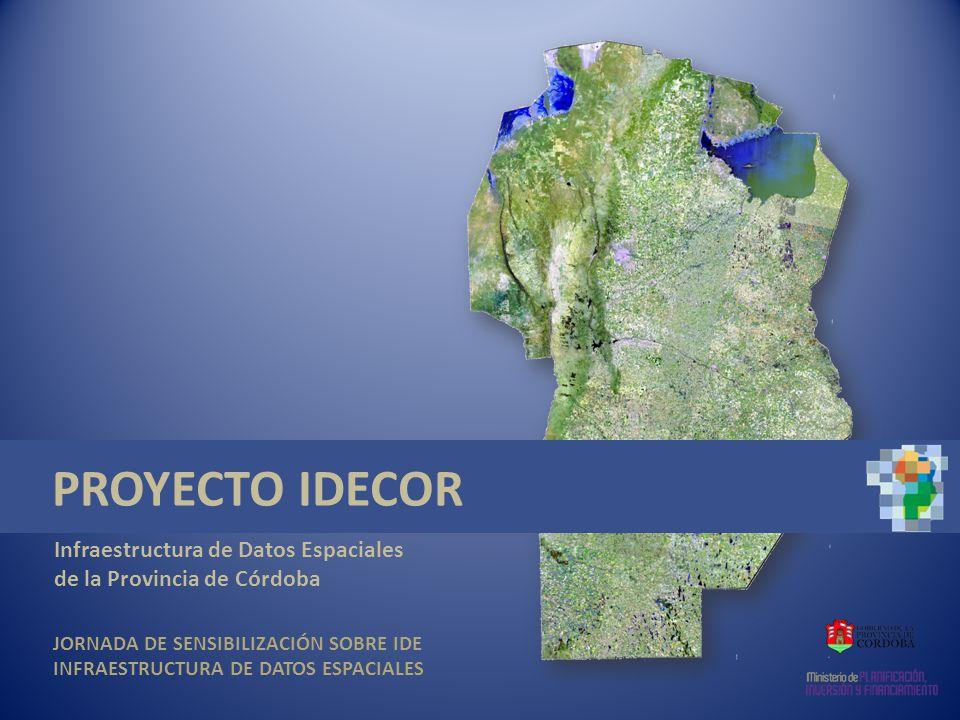 Aplicaciones de la IDE IDECOR Infraestructura de Datos Espaciales de la Provincia de Córdoba Cambios en el Uso de la Tierra Parcela con uso agropecuario en 1997 La misma parcela con riego por PIVOT en 2011 Situación de la parcela declarada en Catastro CAMBIO DEL TIPO Y VALOR DE AFORO Las imágenes satelitales de archivo y las actuales, son elementos muy importantes en la detección de cambios en el Uso del Suelo
