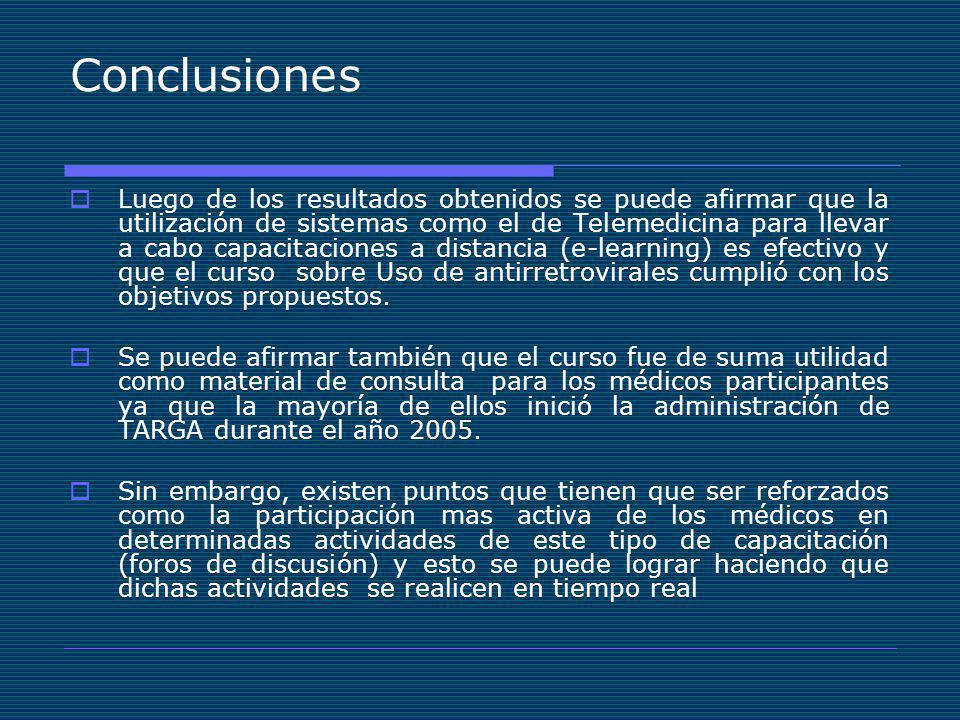 Conclusiones Luego de los resultados obtenidos se puede afirmar que la utilización de sistemas como el de Telemedicina para llevar a cabo capacitaciones a distancia (e-learning) es efectivo y que el curso sobre Uso de antirretrovirales cumplió con los objetivos propuestos.