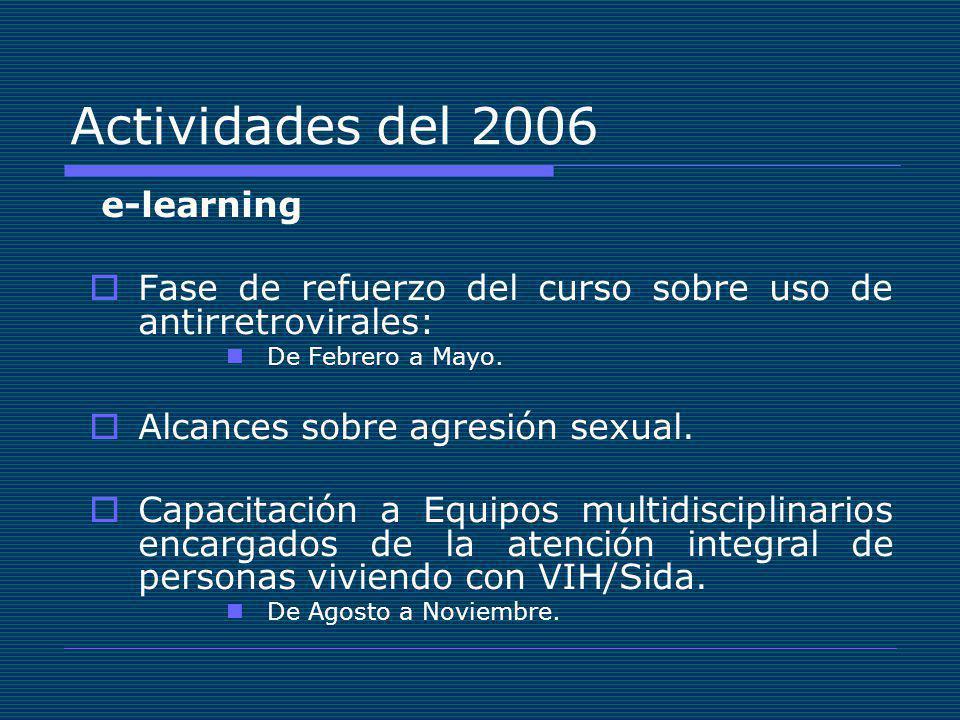 Actividades del 2006 e-learning Fase de refuerzo del curso sobre uso de antirretrovirales: De Febrero a Mayo.