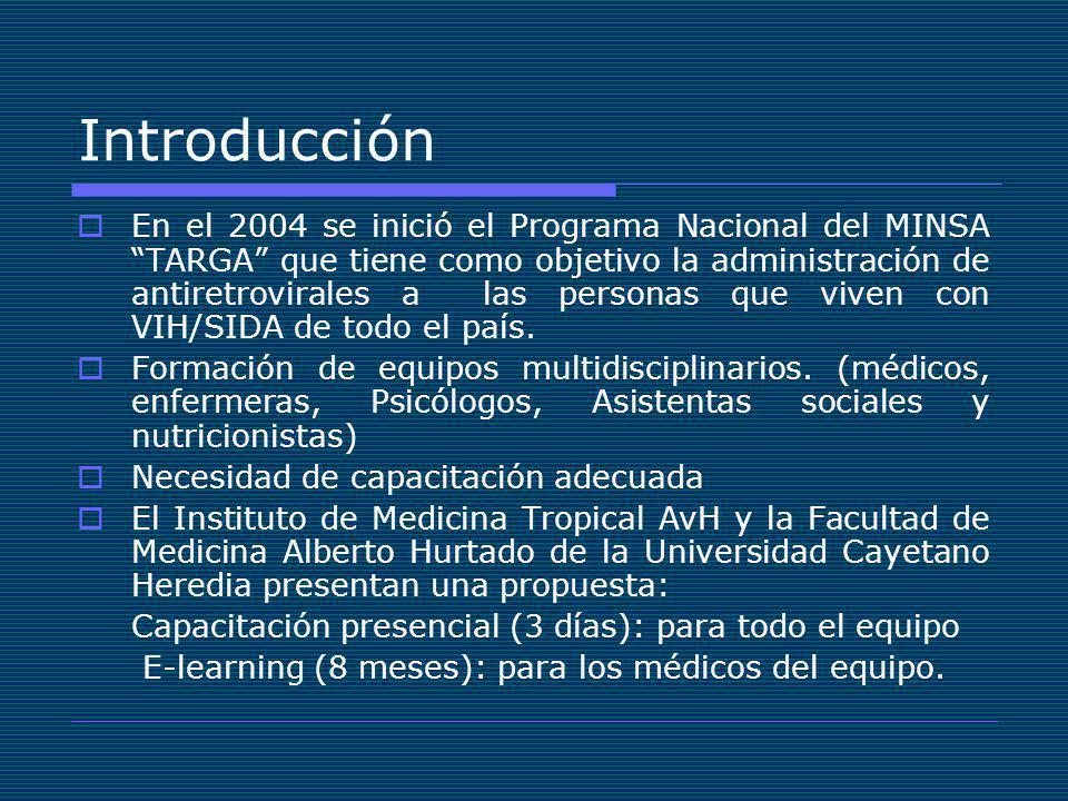Introducción En el 2004 se inició el Programa Nacional del MINSA TARGA que tiene como objetivo la administración de antiretrovirales a las personas que viven con VIH/SIDA de todo el país.