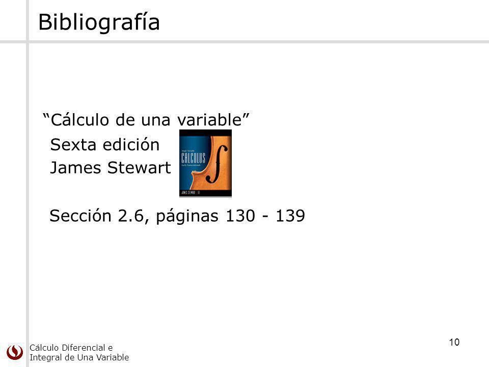 Cálculo Diferencial e Integral de Una Variable 10 Bibliografía Cálculo de una variable Sexta edición James Stewart Sección 2.6, páginas 130 - 139