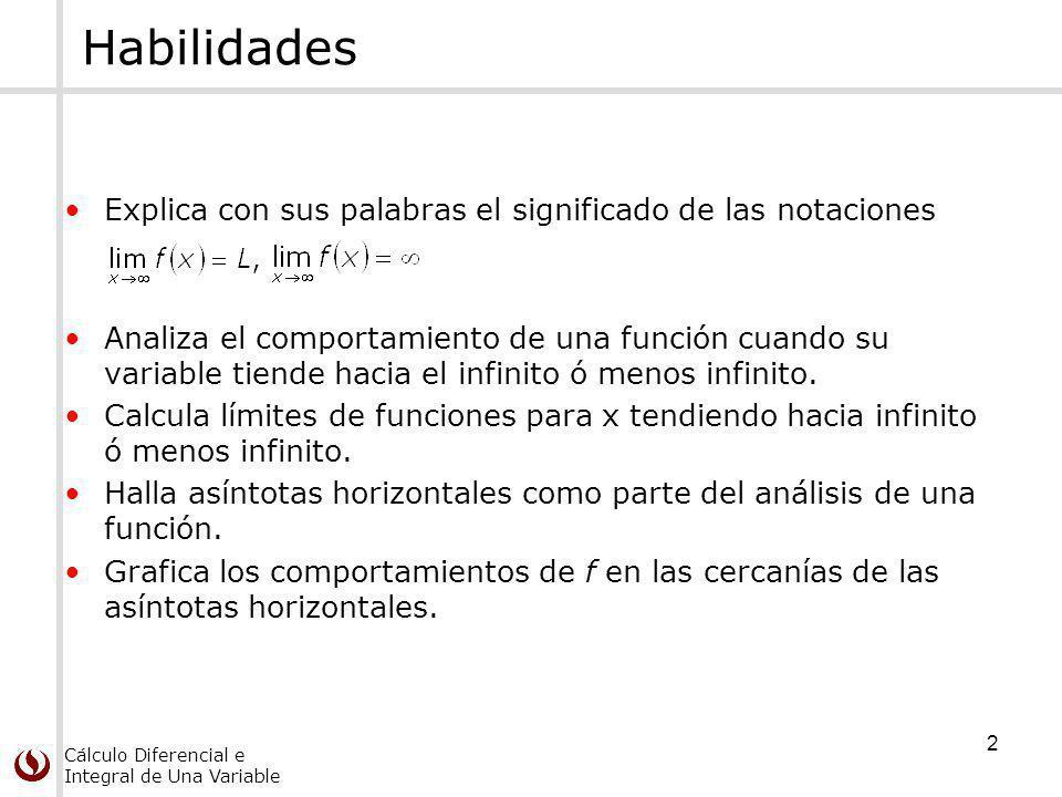 Cálculo Diferencial e Integral de Una Variable 3 Límites en el infinito Sea f una función definida en algún intervalo (a, ).