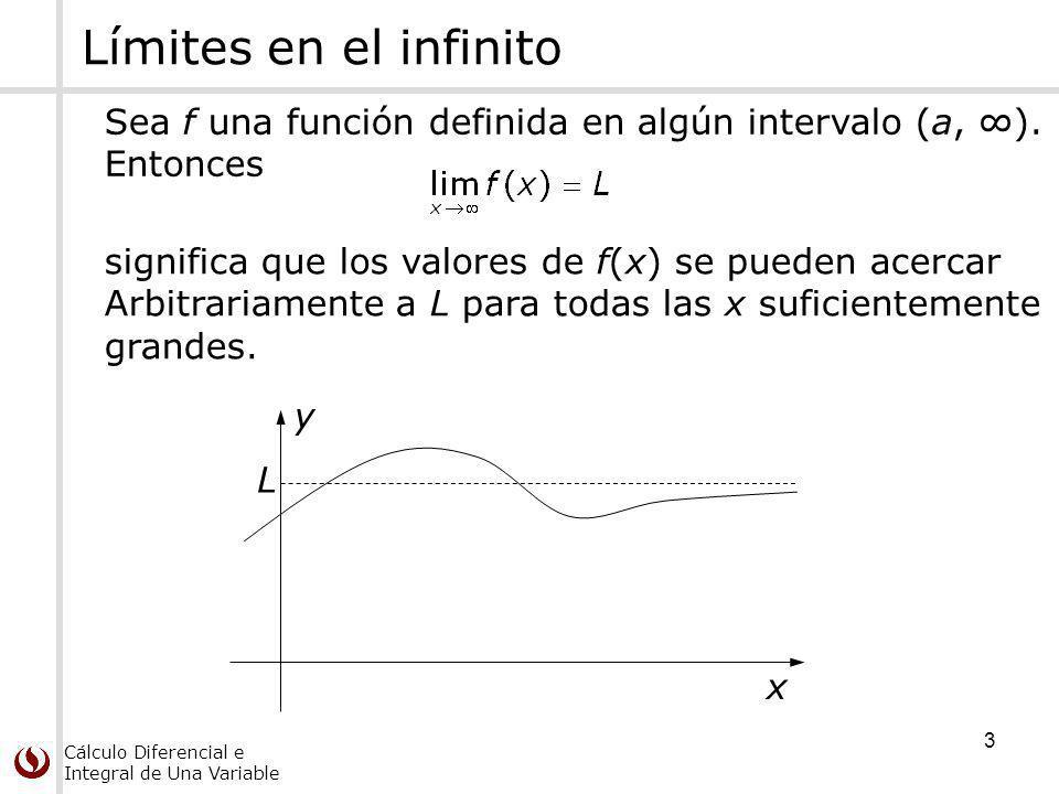 Cálculo Diferencial e Integral de Una Variable 4 Asíntotas horizontales La recta y = L se llama asíntota horizontal de la curva y = f(x) si se cumple alguna (o ambas) de las condiciones: Asíntota horizontal hacia la izquierda L y x L y Asíntota horizontal hacia la derecha x