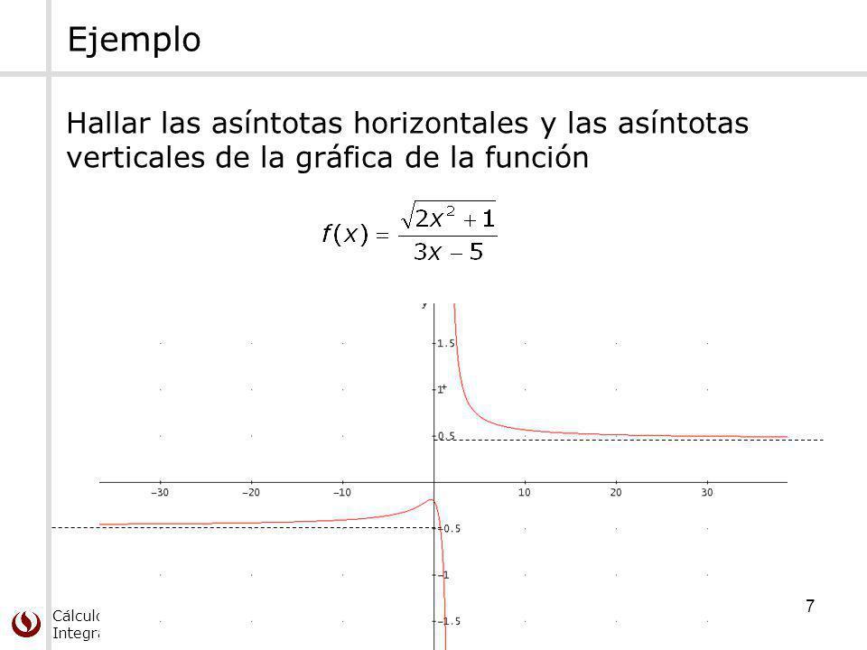 Cálculo Diferencial e Integral de Una Variable 7 Ejemplo Hallar las asíntotas horizontales y las asíntotas verticales de la gráfica de la función