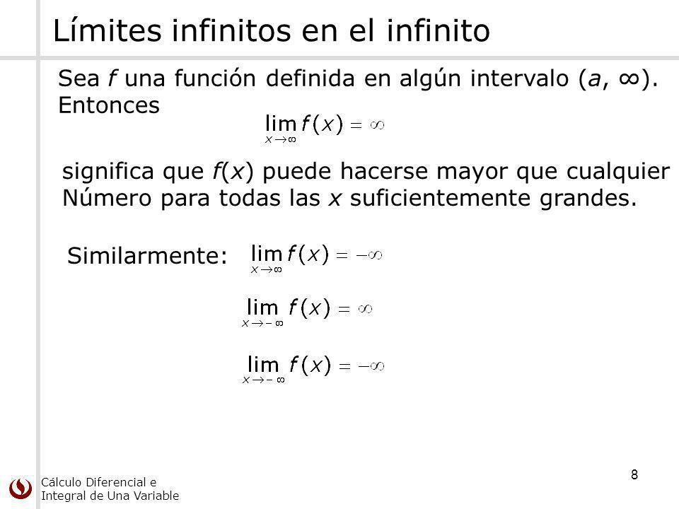 Cálculo Diferencial e Integral de Una Variable 8 Límites infinitos en el infinito Sea f una función definida en algún intervalo (a, ). Entonces signif
