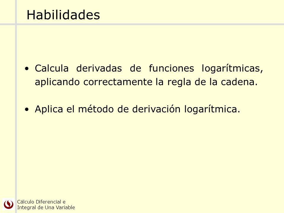 Cálculo Diferencial e Integral de Una Variable Habilidades Calcula derivadas de funciones logarítmicas, aplicando correctamente la regla de la cadena.