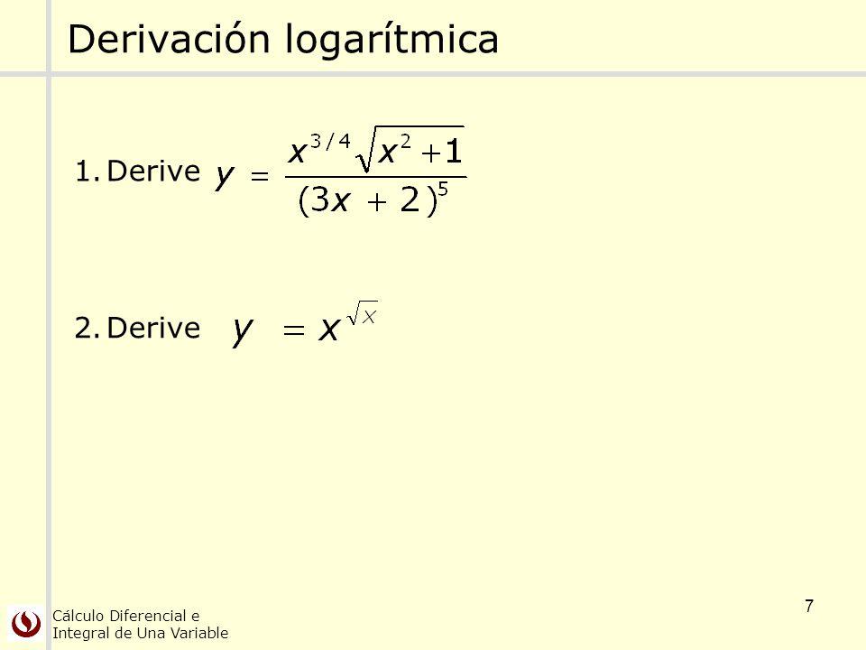 Cálculo Diferencial e Integral de Una Variable 7 Derivación logarítmica 1.Derive 2.Derive