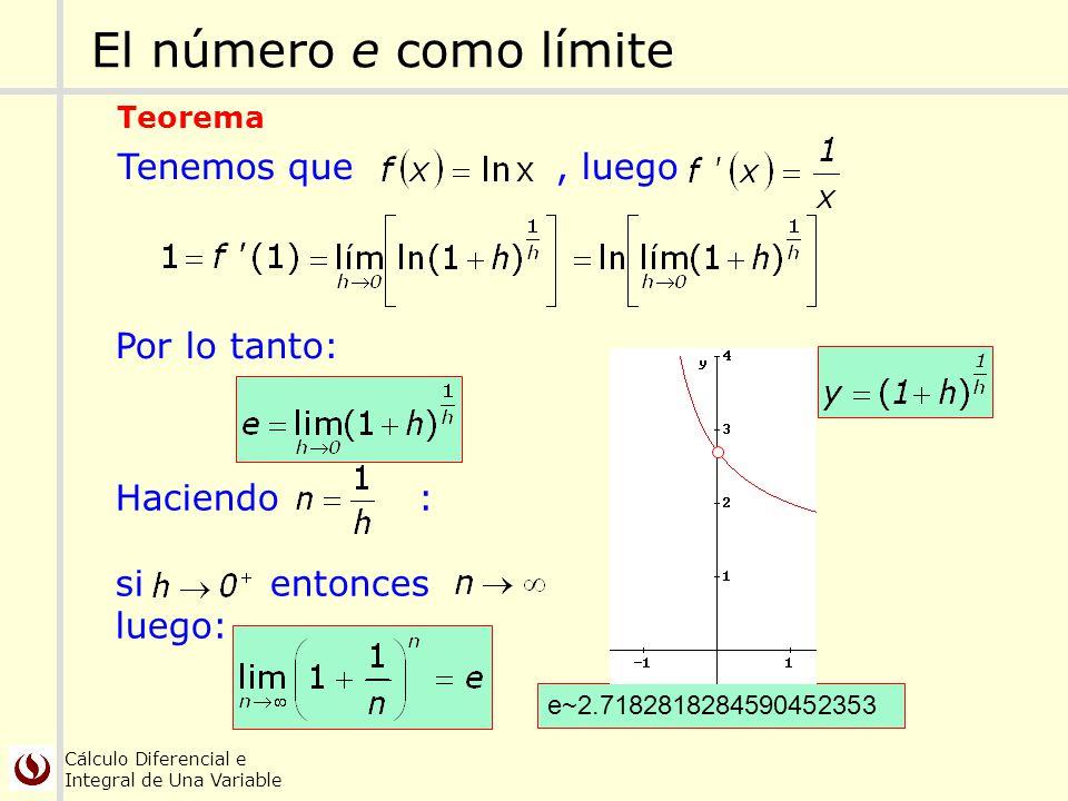 Cálculo Diferencial e Integral de Una Variable Tenemos que, luego El número e como límite Teorema Haciendo : si entonces luego: Por lo tanto: e~2.7182
