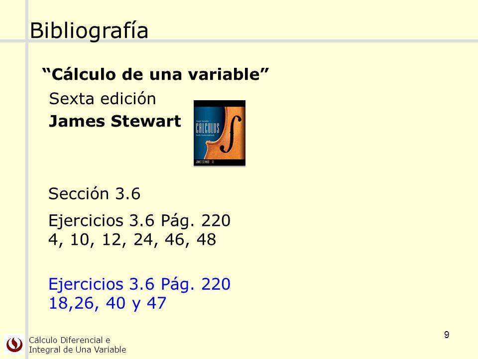 Cálculo Diferencial e Integral de Una Variable 9 Bibliografía Cálculo de una variable Sexta edición James Stewart Sección 3.6 Ejercicios 3.6 Pág. 220