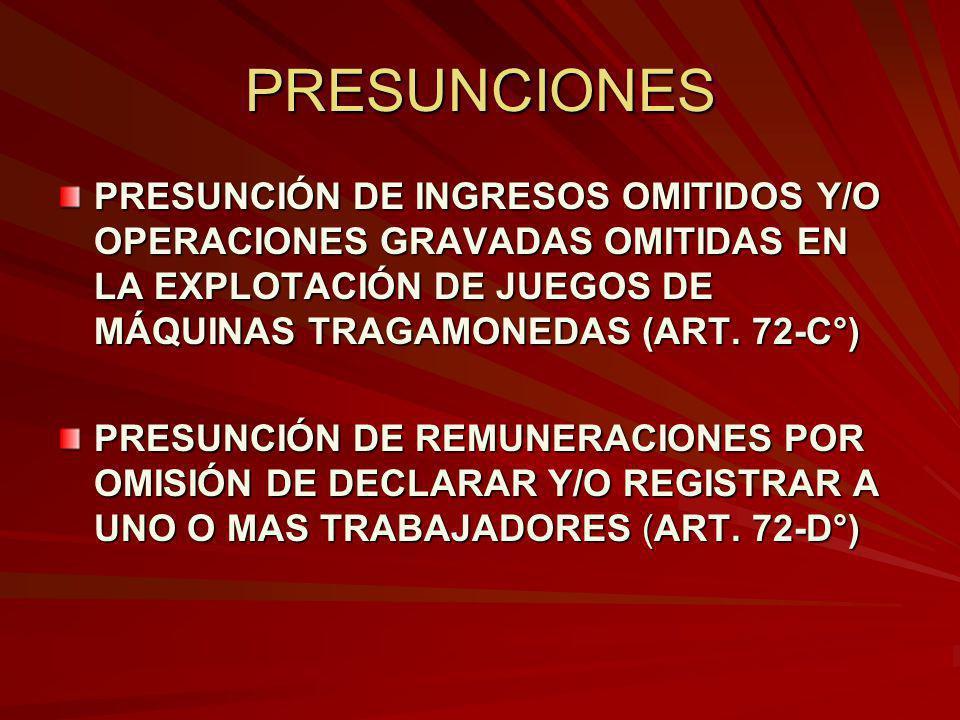 PRESUNCIONES PRESUNCIÓN DE INGRESOS OMITIDOS Y/O OPERACIONES GRAVADAS OMITIDAS EN LA EXPLOTACIÓN DE JUEGOS DE MÁQUINAS TRAGAMONEDAS (ART. 72-C°) PRESU