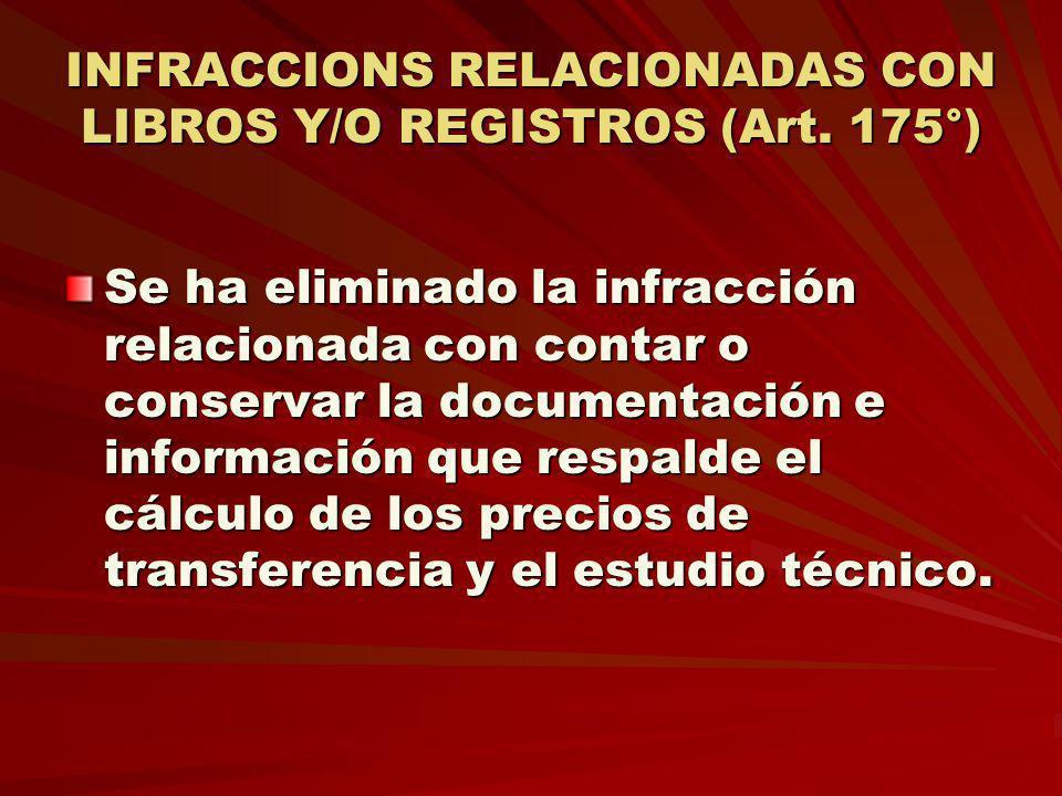 INFRACCIONS RELACIONADAS CON LIBROS Y/O REGISTROS (Art. 175°) Se ha eliminado la infracción relacionada con contar o conservar la documentación e info