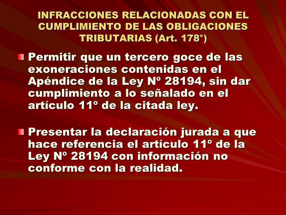 INFRACCIONES RELACIONADAS CON EL CUMPLIMIENTO DE LAS OBLIGACIONES TRIBUTARIAS (Art. 178°) Permitir que un tercero goce de las exoneraciones contenidas