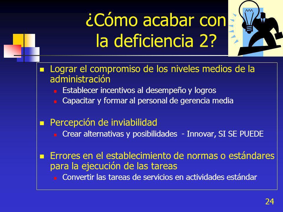 24 ¿Cómo acabar con la deficiencia 2? Lograr el compromiso de los niveles medios de la administración Establecer incentivos al desempeño y logros Capa
