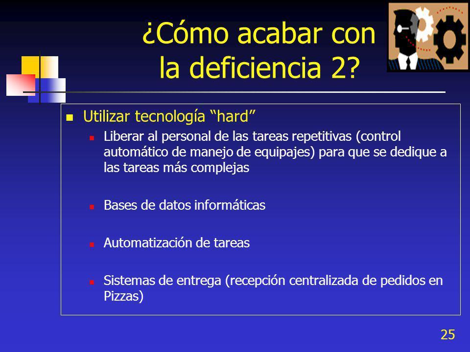25 ¿Cómo acabar con la deficiencia 2? Utilizar tecnología hard Liberar al personal de las tareas repetitivas (control automático de manejo de equipaje