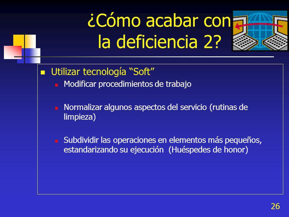 26 ¿Cómo acabar con la deficiencia 2? Utilizar tecnología Soft Modificar procedimientos de trabajo Normalizar algunos aspectos del servicio (rutinas d