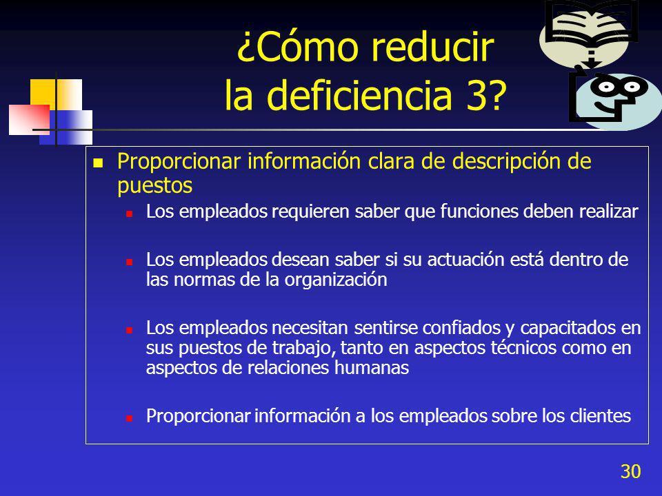 30 ¿Cómo reducir la deficiencia 3? Proporcionar información clara de descripción de puestos Los empleados requieren saber que funciones deben realizar