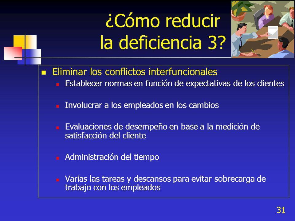31 ¿Cómo reducir la deficiencia 3? Eliminar los conflictos interfuncionales Establecer normas en función de expectativas de los clientes Involucrar a