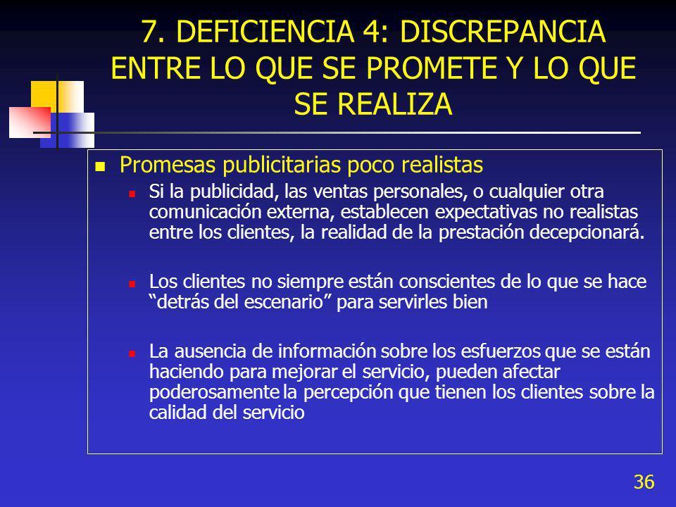 36 7. DEFICIENCIA 4: DISCREPANCIA ENTRE LO QUE SE PROMETE Y LO QUE SE REALIZA Promesas publicitarias poco realistas Si la publicidad, las ventas perso