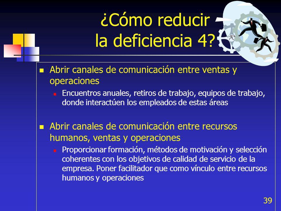 39 ¿Cómo reducir la deficiencia 4? Abrir canales de comunicación entre ventas y operaciones Encuentros anuales, retiros de trabajo, equipos de trabajo