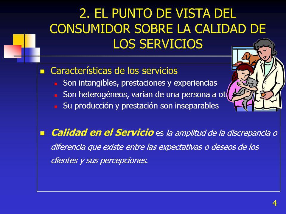4 2. EL PUNTO DE VISTA DEL CONSUMIDOR SOBRE LA CALIDAD DE LOS SERVICIOS Características de los servicios Son intangibles, prestaciones y experiencias