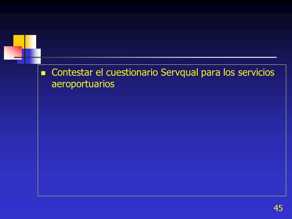 45 Contestar el cuestionario Servqual para los servicios aeroportuarios