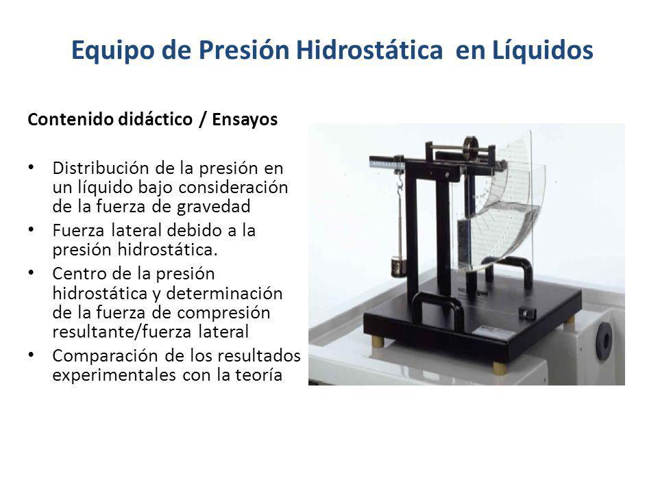 Equipo de Presión Hidrostática en Líquidos Contenido didáctico / Ensayos Distribución de la presión en un líquido bajo consideración de la fuerza de g