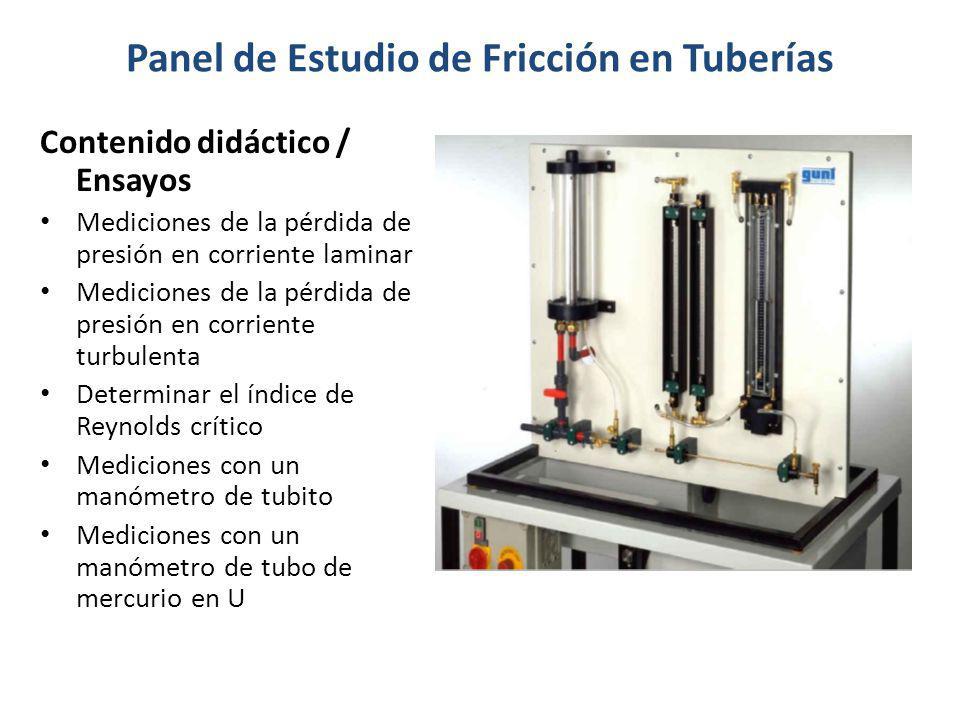 Panel de Estudio de Fricción en Tuberías Contenido didáctico / Ensayos Mediciones de la pérdida de presión en corriente laminar Mediciones de la pérdi