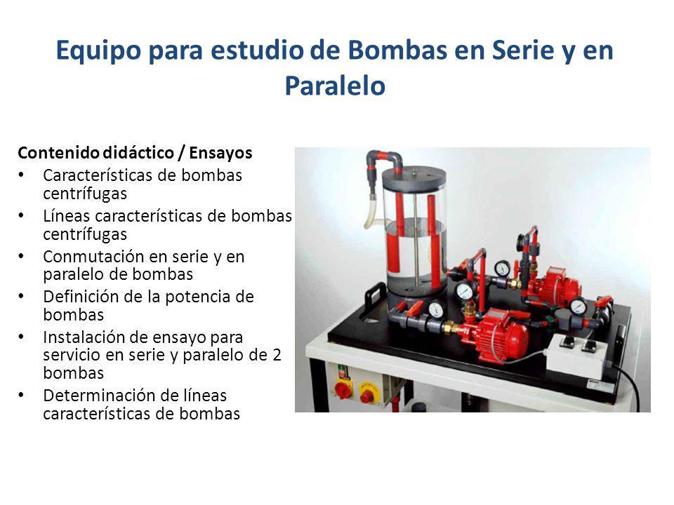 Equipo para estudio de Bombas en Serie y en Paralelo Contenido didáctico / Ensayos Características de bombas centrífugas Líneas características de bom