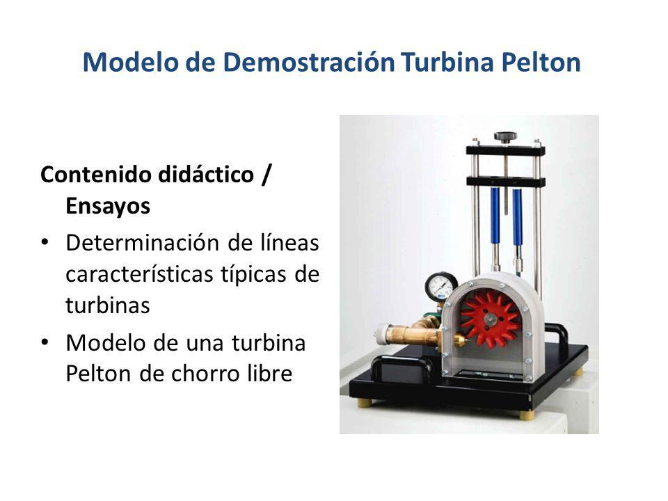 Modelo de Demostración Turbina Pelton Contenido didáctico / Ensayos Determinación de líneas características típicas de turbinas Modelo de una turbina