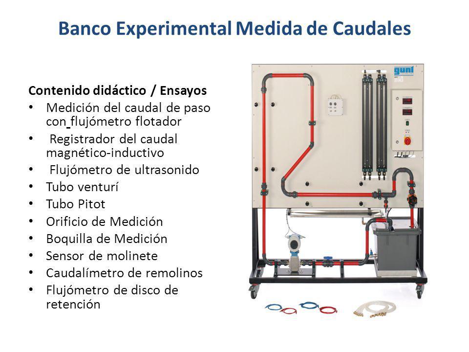 Banco Experimental Medida de Caudales Contenido didáctico / Ensayos Medición del caudal de paso con flujómetro flotador Registrador del caudal magnéti