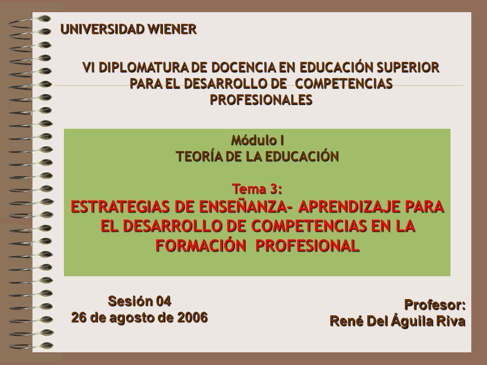 UNIVERSIDAD WIENER Sesión 04 26 de agosto de 2006 VI DIPLOMATURA DE DOCENCIA EN EDUCACIÓN SUPERIOR PARA EL DESARROLLO DE COMPETENCIAS PROFESIONALES Mó