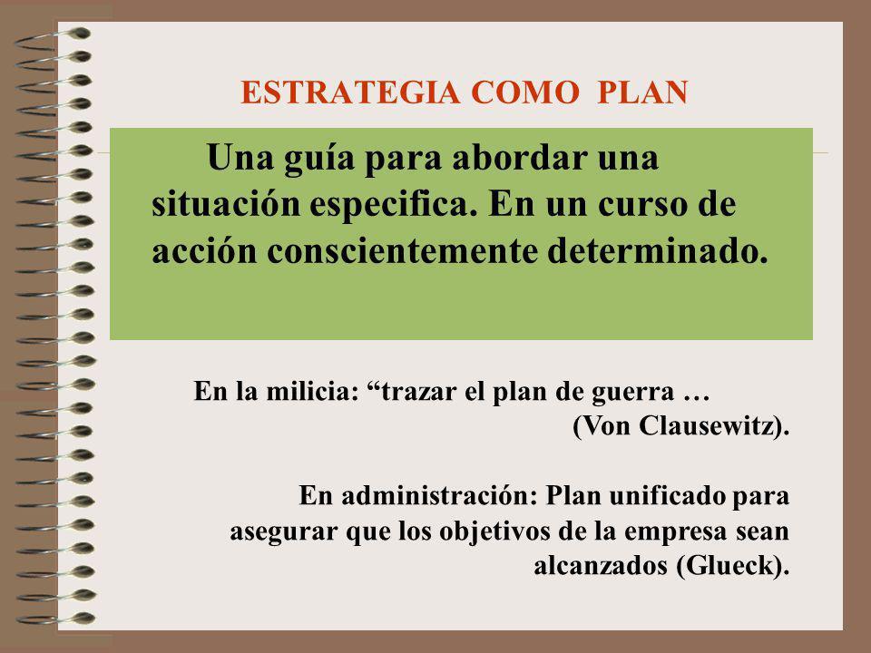 ESTRATEGIA COMO PLAN Una guía para abordar una situación especifica. En un curso de acción conscientemente determinado. En la milicia: trazar el plan