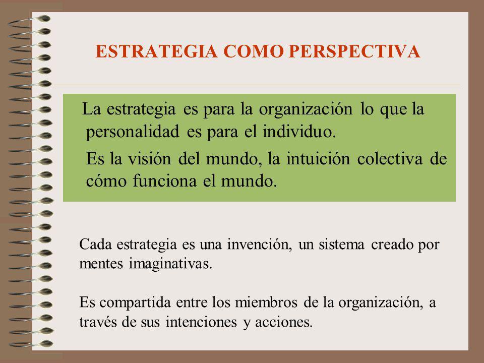 ESTRATEGIA COMO PERSPECTIVA La estrategia es para la organización lo que la personalidad es para el individuo. Es la visión del mundo, la intuición co