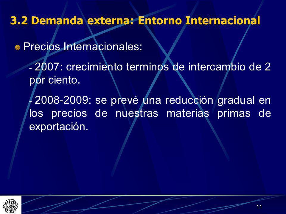 11 3.2 Demanda externa: Entorno Internacional Precios Internacionales: - 2007: crecimiento terminos de intercambio de 2 por ciento.