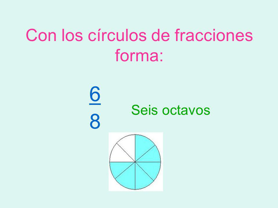 Con los círculos de fracciones forma: 6 8 Seis octavos