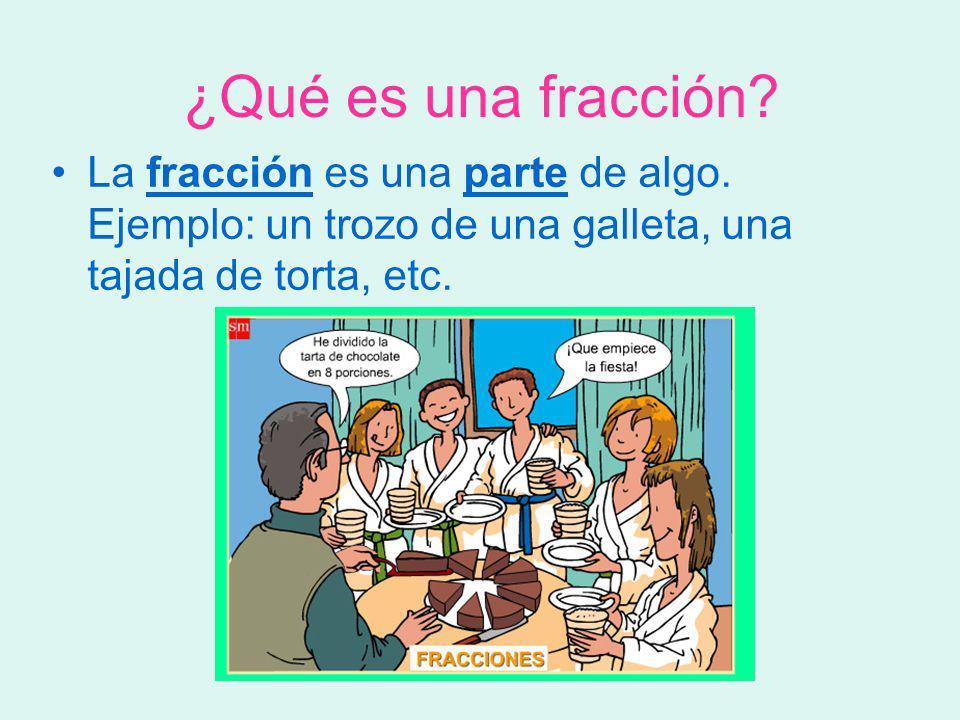 ¿Qué es una fracción? La fracción es una parte de algo. Ejemplo: un trozo de una galleta, una tajada de torta, etc.