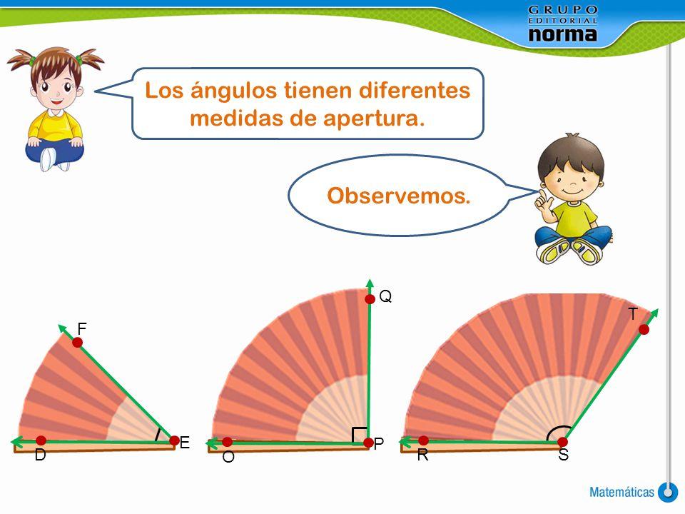 Los ángulos tienen diferentes medidas de apertura. Observemos. F E T D Q P O SR
