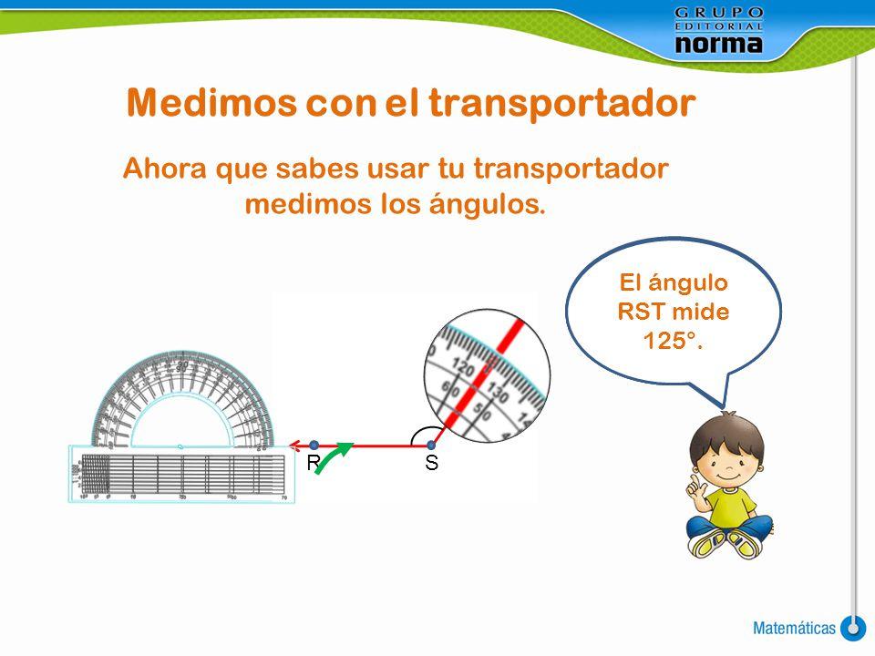 Medimos con el transportador Ahora que sabes usar tu transportador medimos los ángulos. ¿Cuántos grados medirá cada ángulo? O Q P El ángulo OPQ mide 9