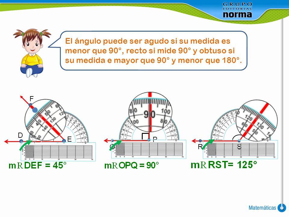 F E D El ángulo puede ser agudo si su medida es menor que 90°, recto si mide 90° y obtuso si su medida e mayor que 90° y menor que 180°. O Q P T SR
