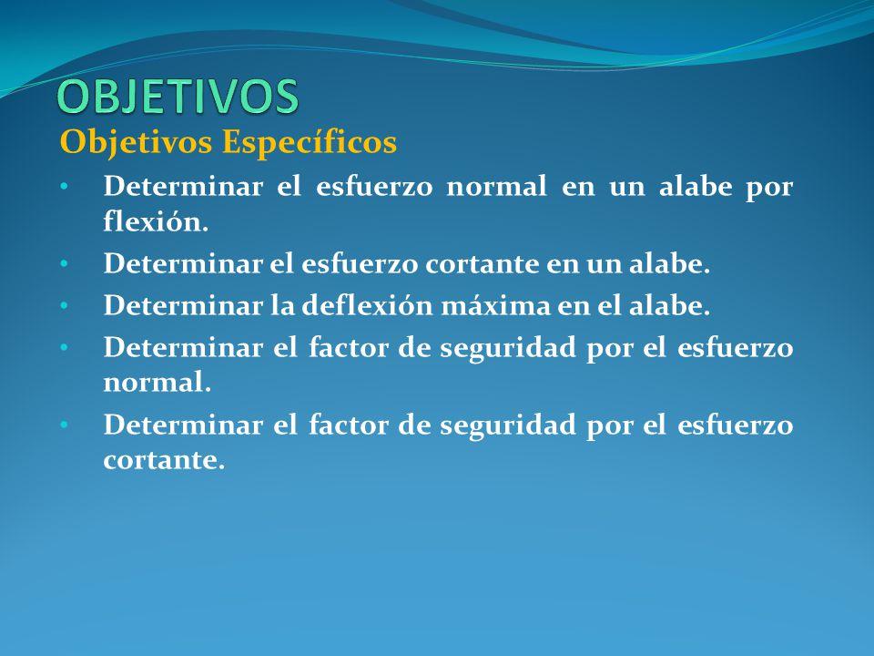 Objetivos Específicos Determinar el esfuerzo normal en un alabe por flexión.