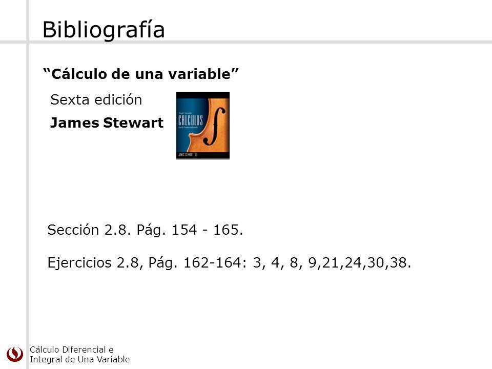Cálculo Diferencial e Integral de Una Variable Bibliografía Cálculo de una variable Sexta edición James Stewart Sección 2.8. Pág. 154 - 165. Ejercicio