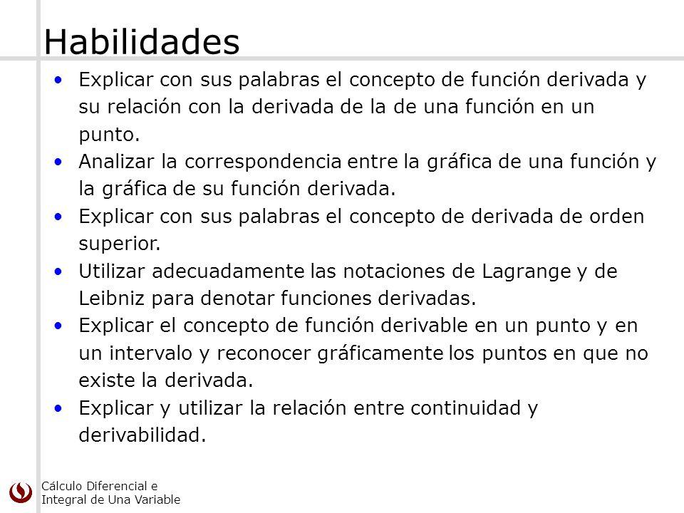 Cálculo Diferencial e Integral de Una Variable Habilidades Explicar con sus palabras el concepto de función derivada y su relación con la derivada de