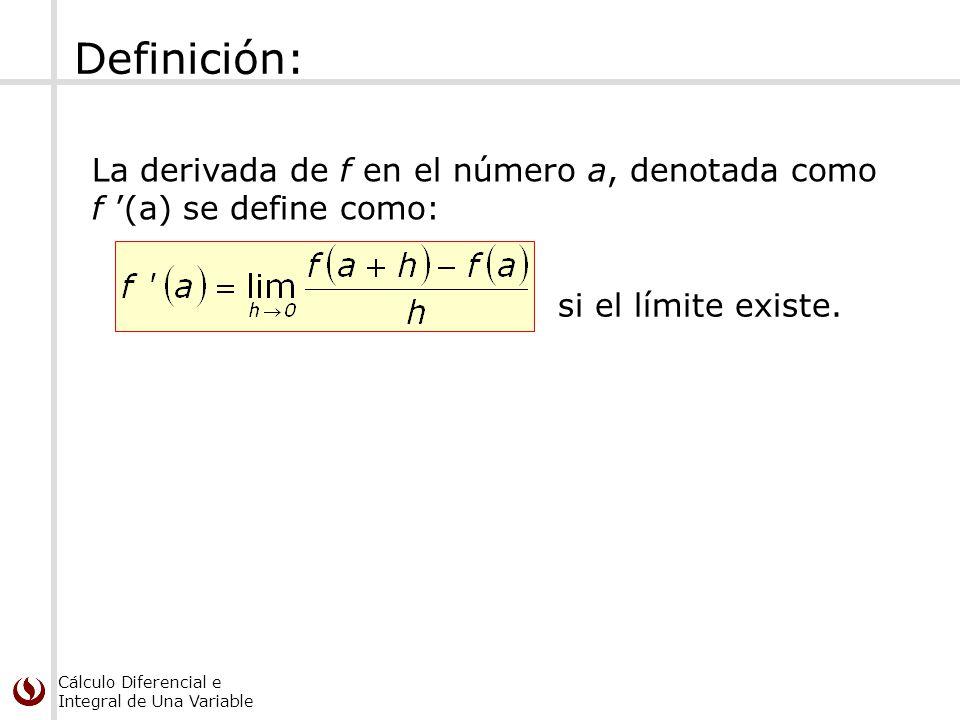 Cálculo Diferencial e Integral de Una Variable Definición: La derivada de f en el número a, denotada como f (a) se define como: si el límite existe.