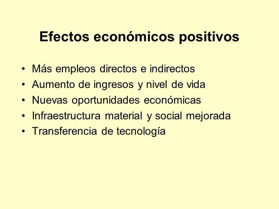 Efectos económicos positivos Más empleos directos e indirectos Aumento de ingresos y nivel de vida Nuevas oportunidades económicas Infraestructura mat