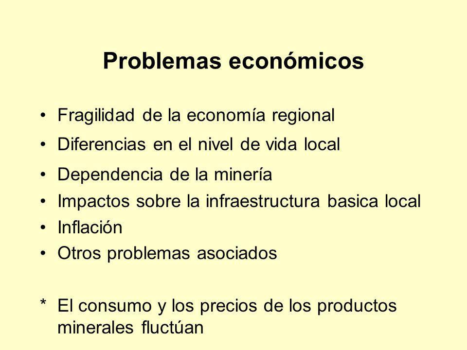 Problemas económicos Fragilidad de la economía regional Diferencias en el nivel de vida local Dependencia de la minería Impactos sobre la infraestruct