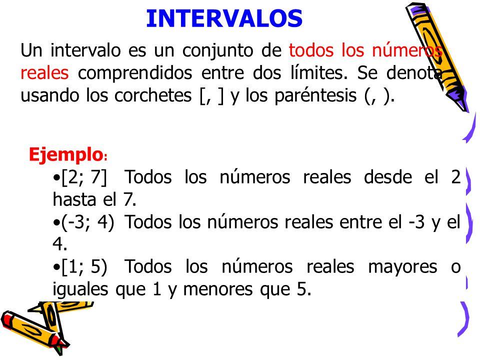 INTERVALOS Un intervalo es un conjunto de todos los números reales comprendidos entre dos límites. Se denota usando los corchetes [, ] y los paréntesi