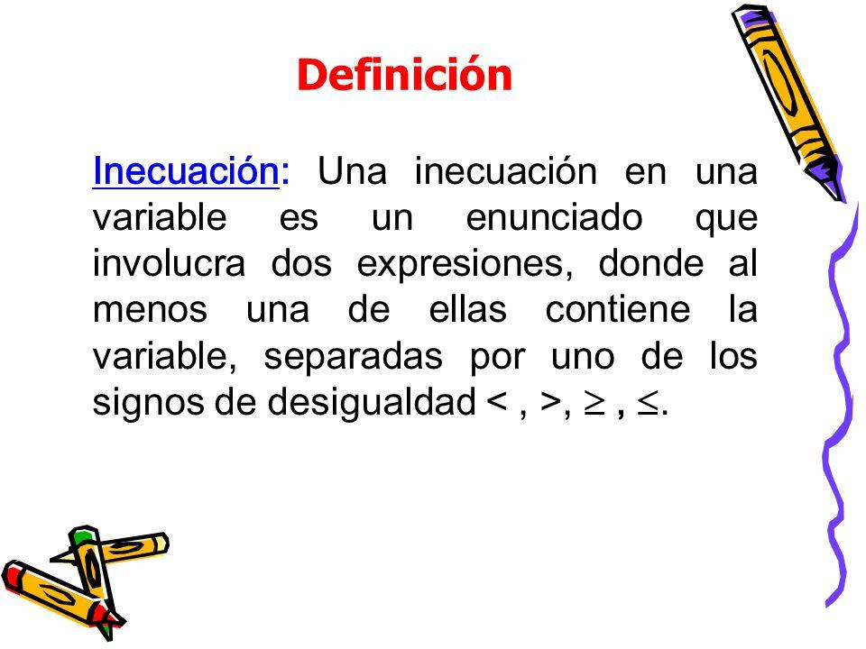 Definición Inecuación: Una inecuación en una variable es un enunciado que involucra dos expresiones, donde al menos una de ellas contiene la variable, separadas por uno de los signos de desigualdad,,.