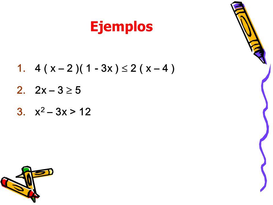 Ejemplos 1.4 ( x – 2 )( 1 - 3x ) 2 ( x – 4 ) 2.2x – 3 5 3.x 2 – 3x > 12