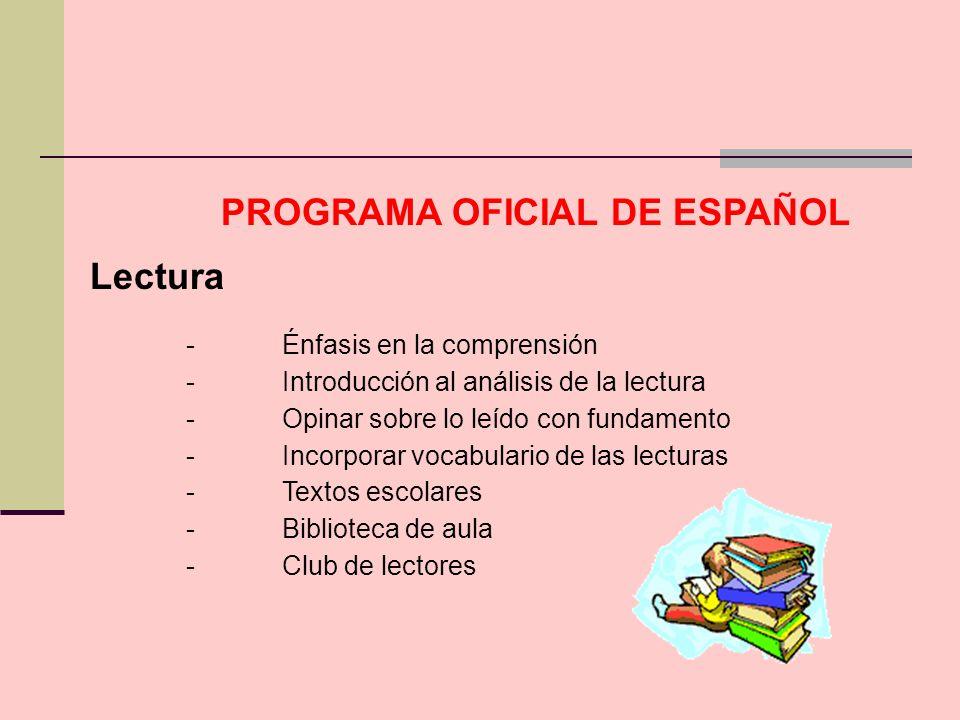 Lectura -Énfasis en la comprensión -Introducción al análisis de la lectura -Opinar sobre lo leído con fundamento -Incorporar vocabulario de las lectur