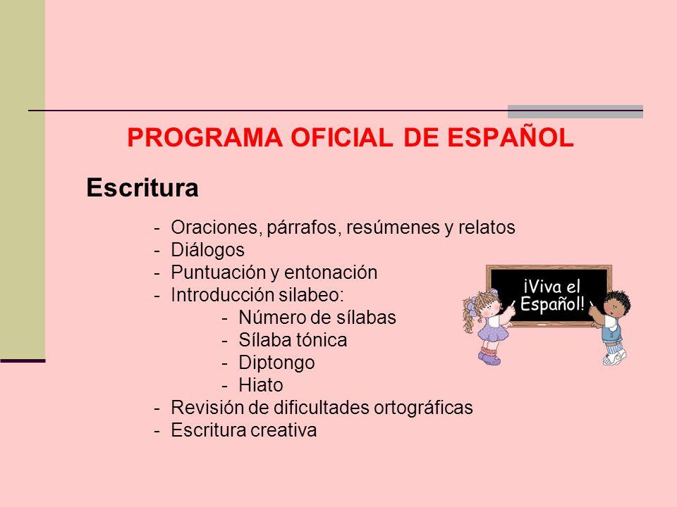 PROGRAMA OFICIAL DE ESPAÑOL Escritura - Oraciones, párrafos, resúmenes y relatos - Diálogos - Puntuación y entonación - Introducción silabeo: - Número
